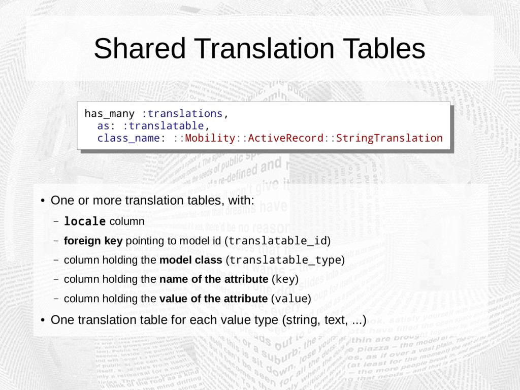 Shared Translation Tables ● One or more transla...