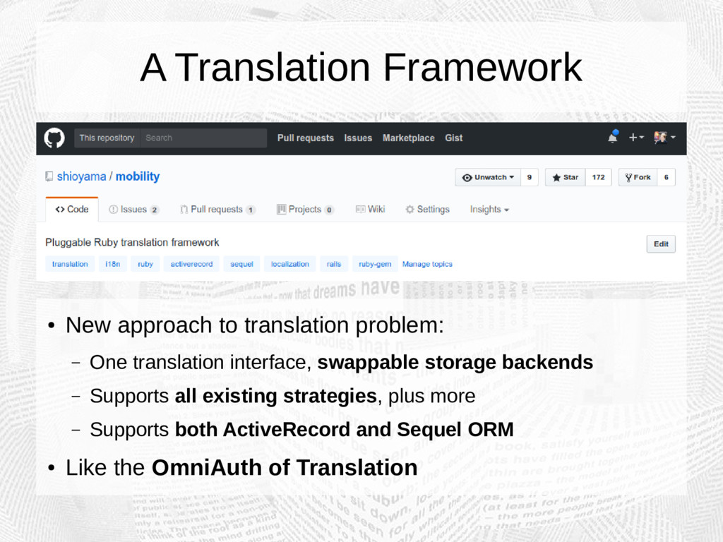 A Translation Framework ● New approach to trans...