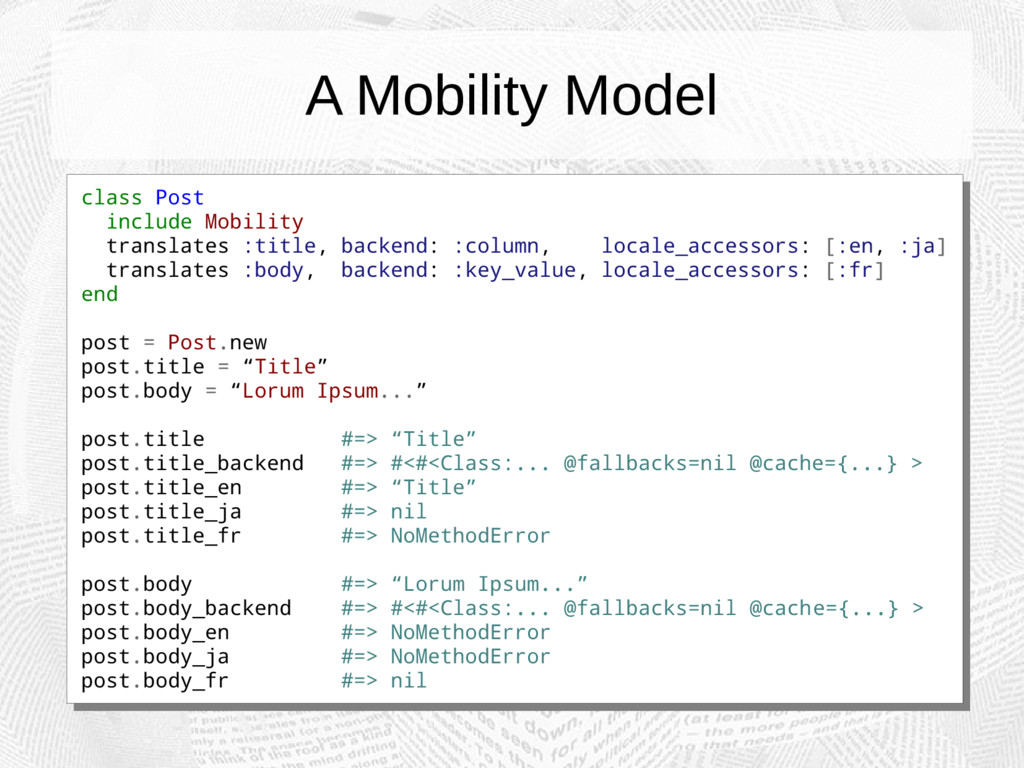 A Mobility Model class Post include Mobility tr...