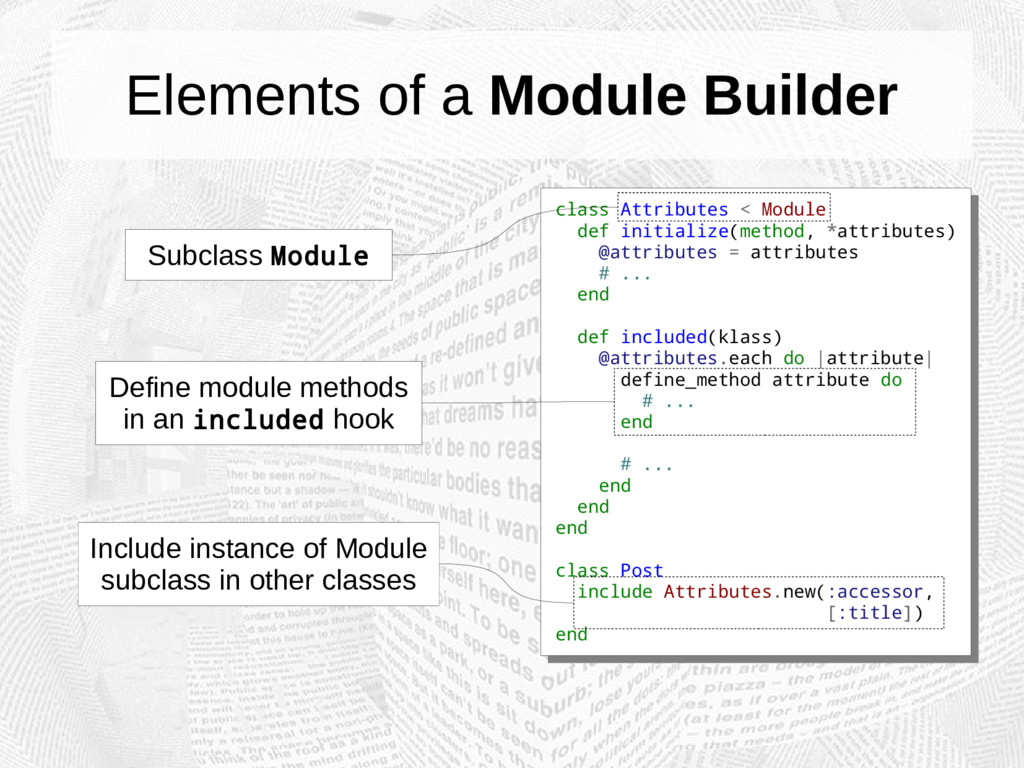 Elements of a Module Builder class Attributes <...