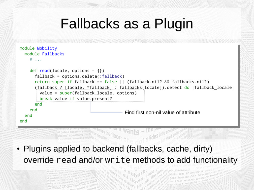 Fallbacks as a Plugin module Mobility module Fa...