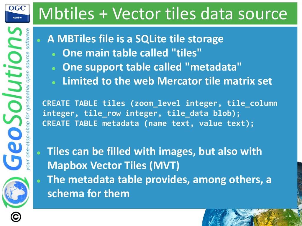 Mbtiles + Vector tiles data source ⚫ A MBTiles ...