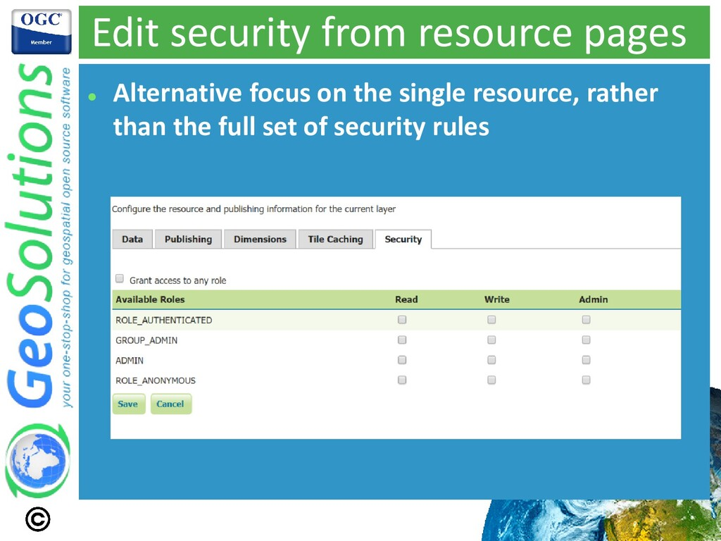Edit security from resource pages ⚫ Alternative...