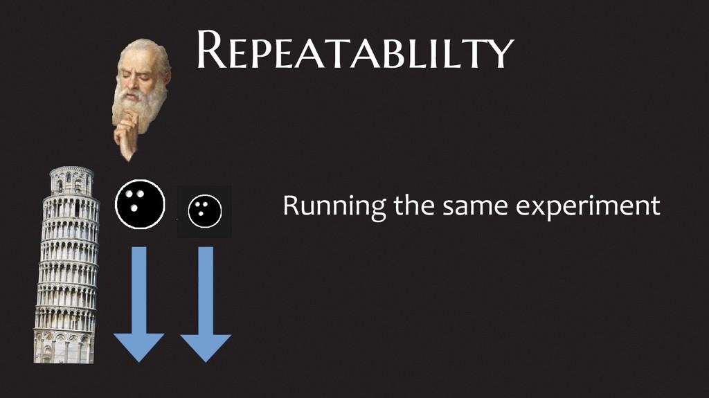 Repeatablilty Running the same experiment