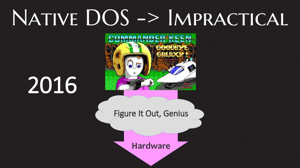 Native DOS -> Impractical Figure It Out, Genius...