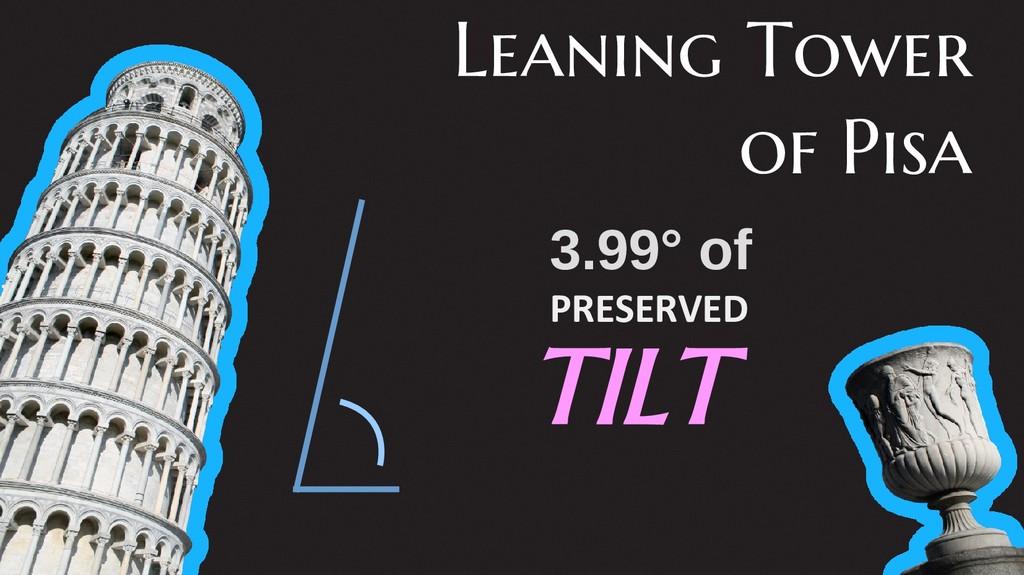 Leaning Tower of Pisa 3.99° of PRESERVED TILT
