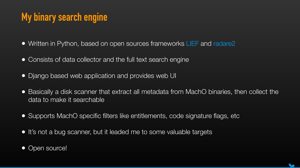 My binary search engine • Written in Python, ba...