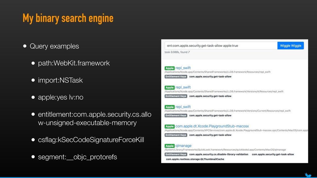 My binary search engine • Query examples • path...