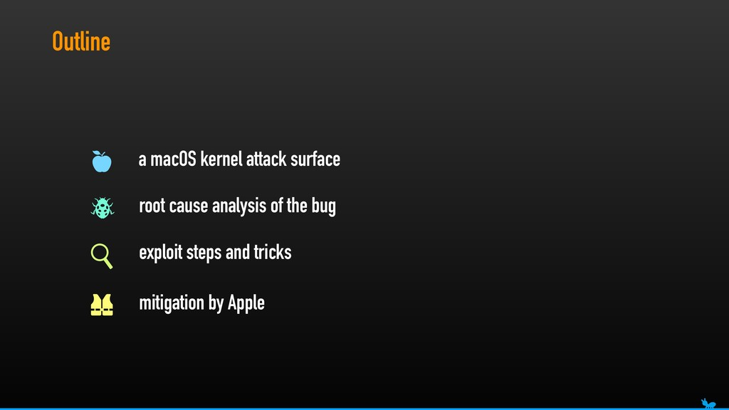 Outline a macOS kernel attack surface root caus...