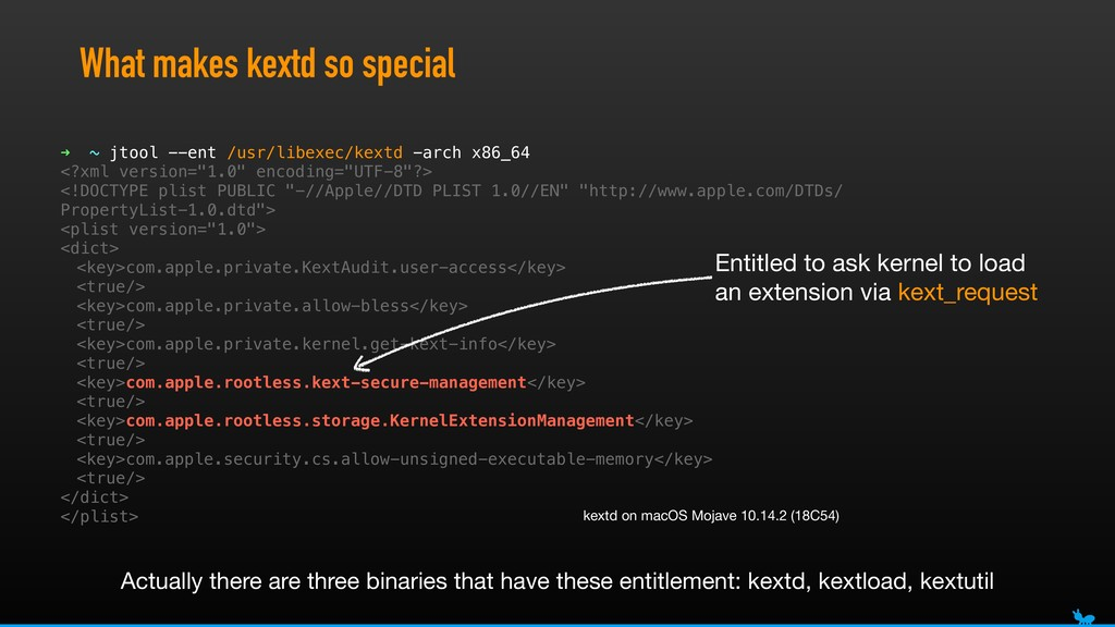 What makes kextd so special ➜ ~ jtool --ent /us...