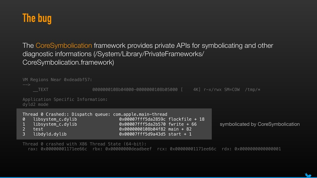 symbolicated by CoreSymbolication The bug VM Re...