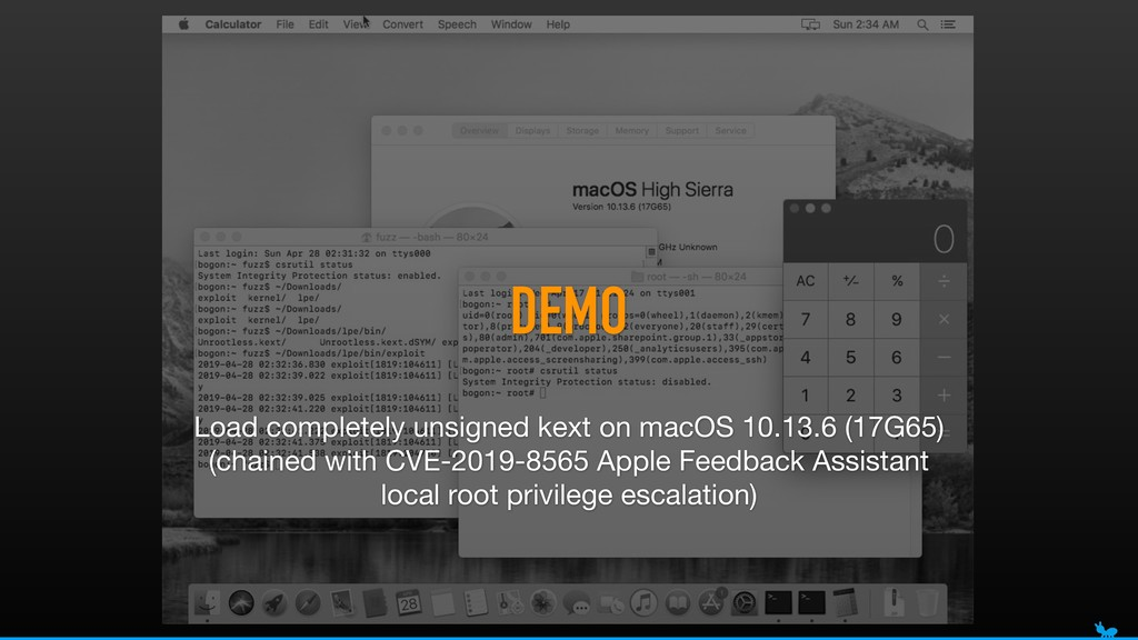 DEMO Load completely unsigned kext on macOS 10....