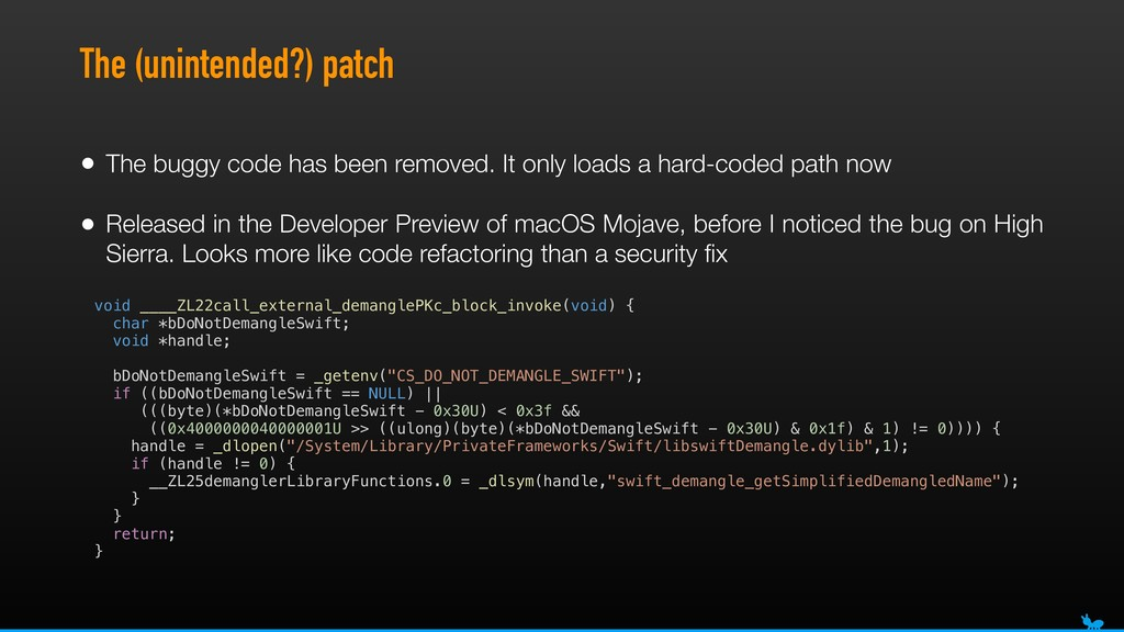 The (unintended?) patch • The buggy code has be...