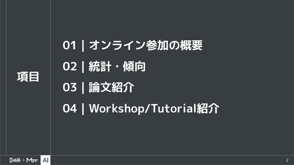 2 項目 01 オンライン参加の概要 02 統計・傾向 03 論文紹介 04 Workshop...