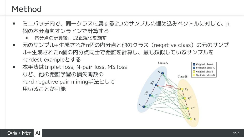 Method ▪ ミニバッチ内で、同一クラスに属する2つのサンプルの埋め込みベクトルに対して、...