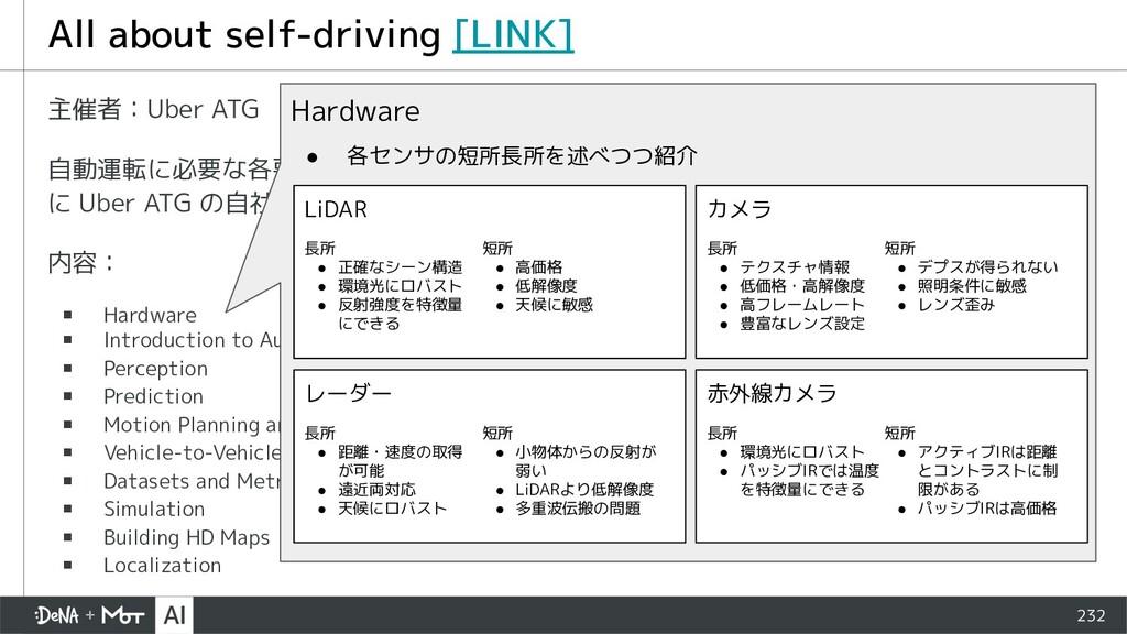 232 主催者:Uber ATG 自動運転に必要な各要素技術について、ハードウェア・ソフトウェ...