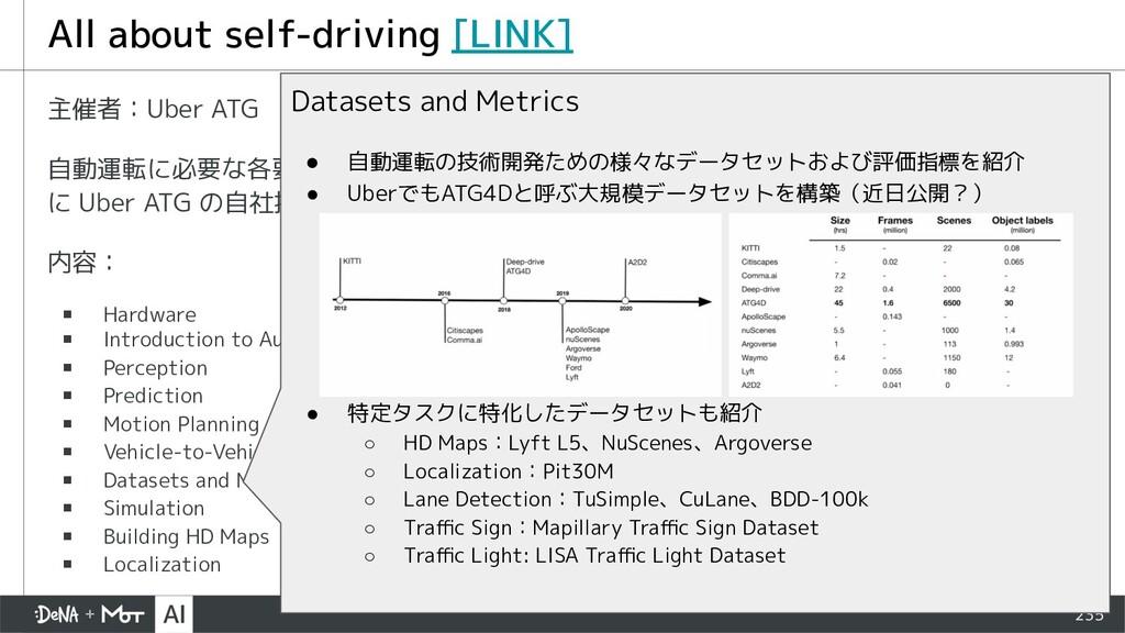 235 主催者:Uber ATG 自動運転に必要な各要素技術について、ハードウェア・ソフトウェ...