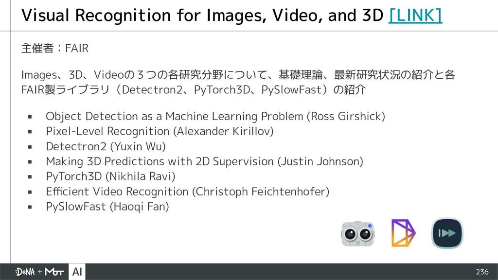 236 主催者:FAIR Images、3D、Videoの3つの各研究分野について、基礎理論、...