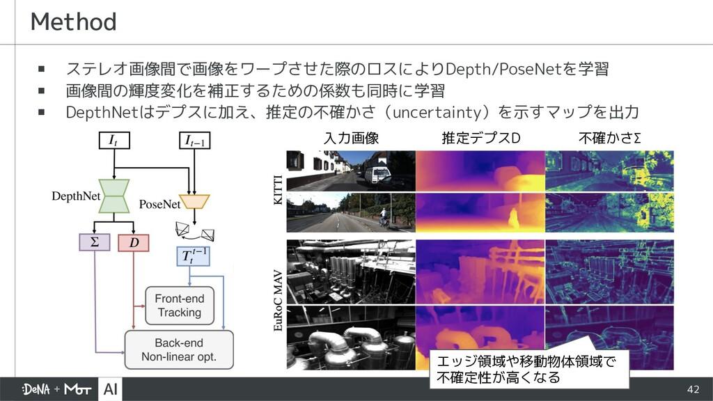 42 ▪ ステレオ画像間で画像をワープさせた際のロスによりDepth/PoseNetを学習 ▪...