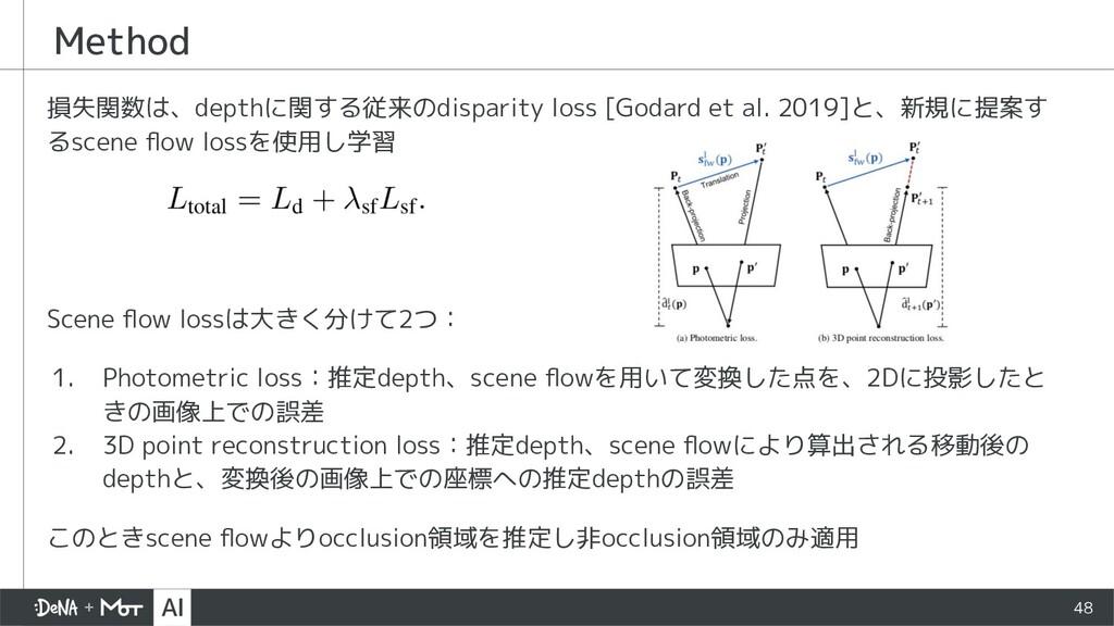 Method 損失関数は、depthに関する従来のdisparity loss [Godard...