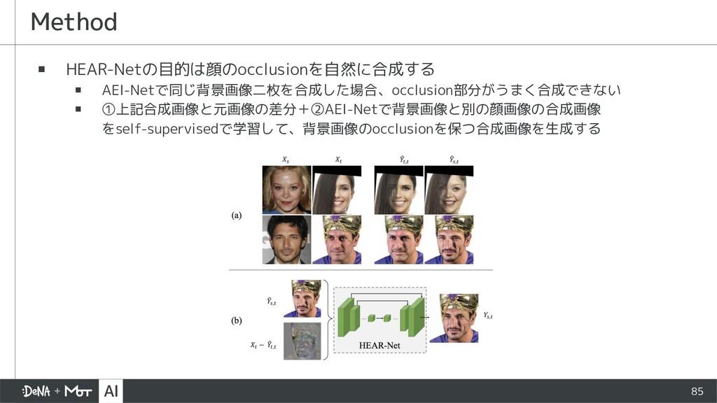 85 ▪ HEAR-Netの目的は顔のocclusionを自然に合成する ▪ AEI-Netで...