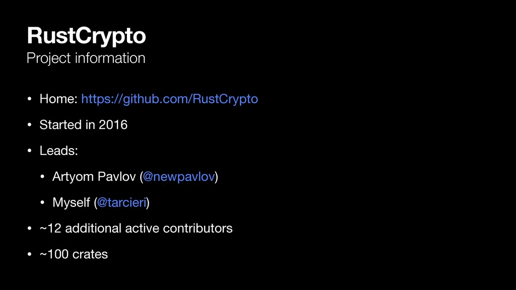 RustCrypto Project information • Home: https://...