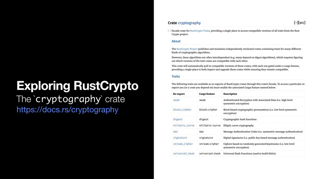 Exploring RustCrypto The `cryptography` crate h...