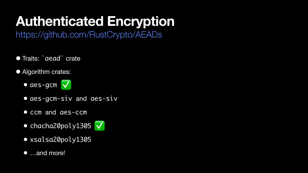 Authenticated Encryption https://github.com/Rus...