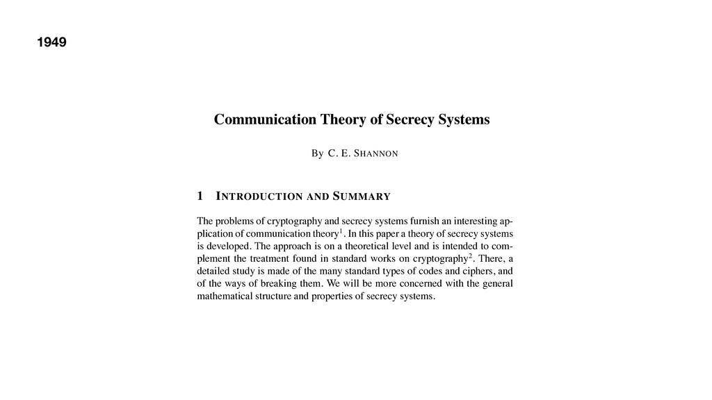 Communication Theory of Secrecy Systems By C. E...