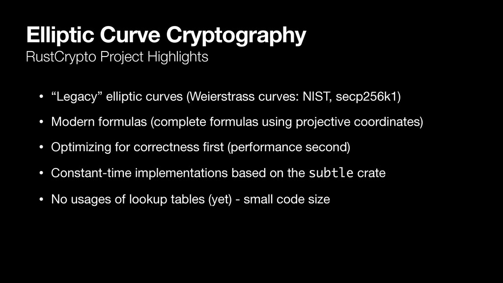 Elliptic Curve Cryptography RustCrypto Project ...