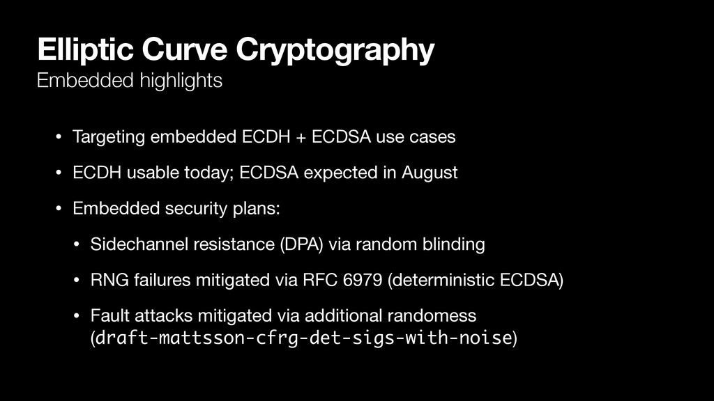 Elliptic Curve Cryptography Embedded highlights...