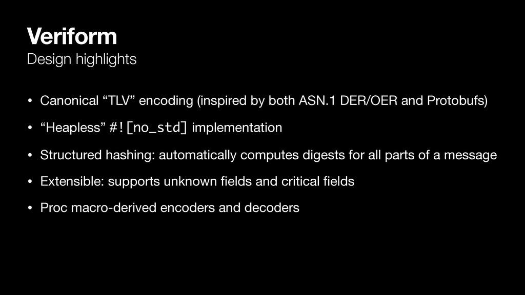 "Veriform Design highlights • Canonical ""TLV"" en..."