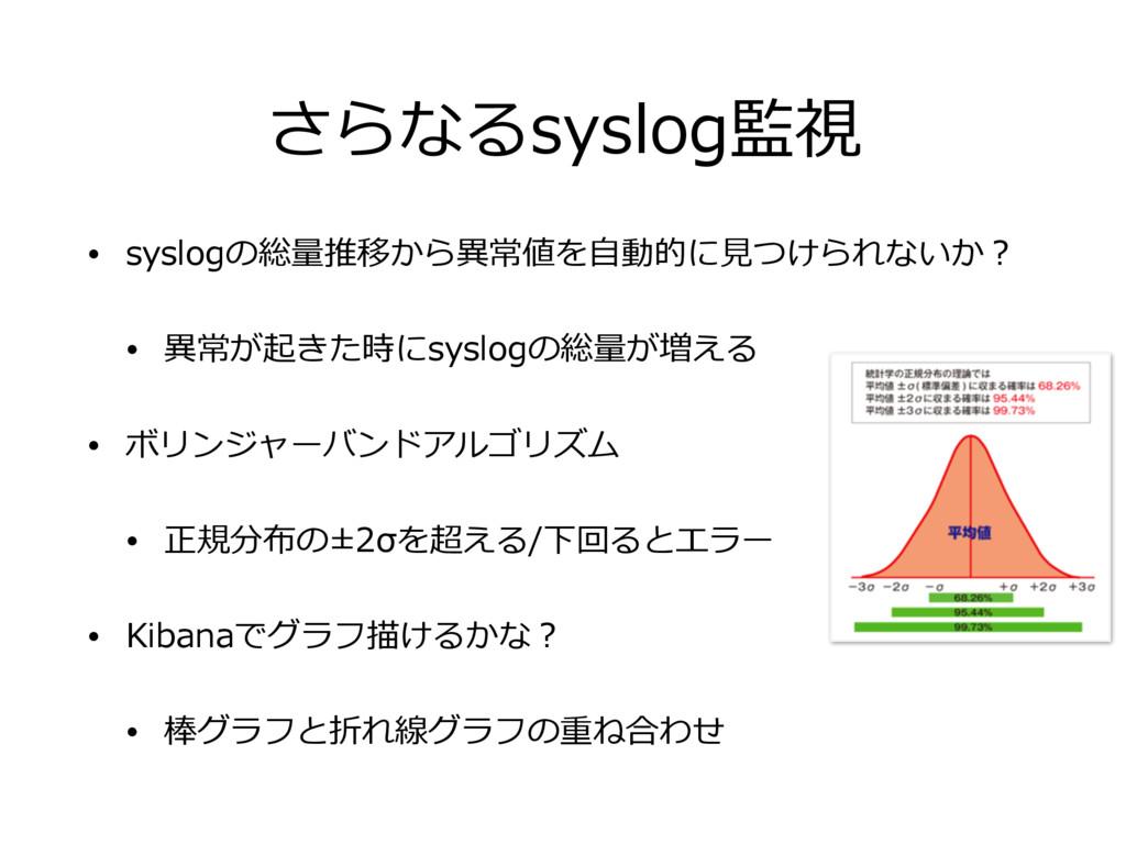 さらなるsyslog監視 • syslogの総量推移から異常値を⾃動的に⾒つけられないか? •...