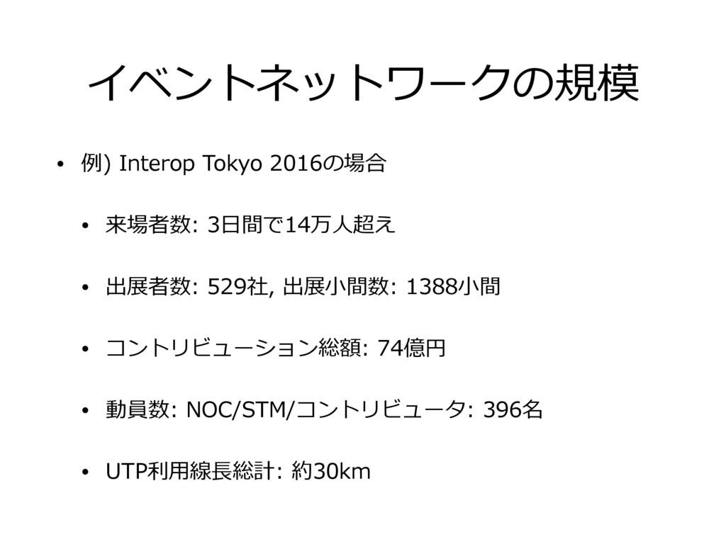 イベントネットワークの規模 • 例) Interop Tokyo 2016の場合 • 来場者数...