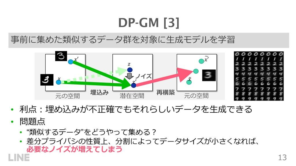 13 事前に集めた類似するデータ群を対象に⽣成モデルを学習 DP-GM [3] • 利点︓埋め...