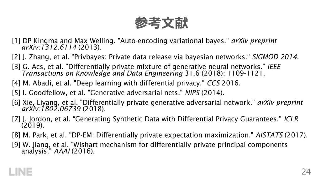 """24 参考⽂献 [1] DP Kingma and Max Welling. """"Auto-en..."""