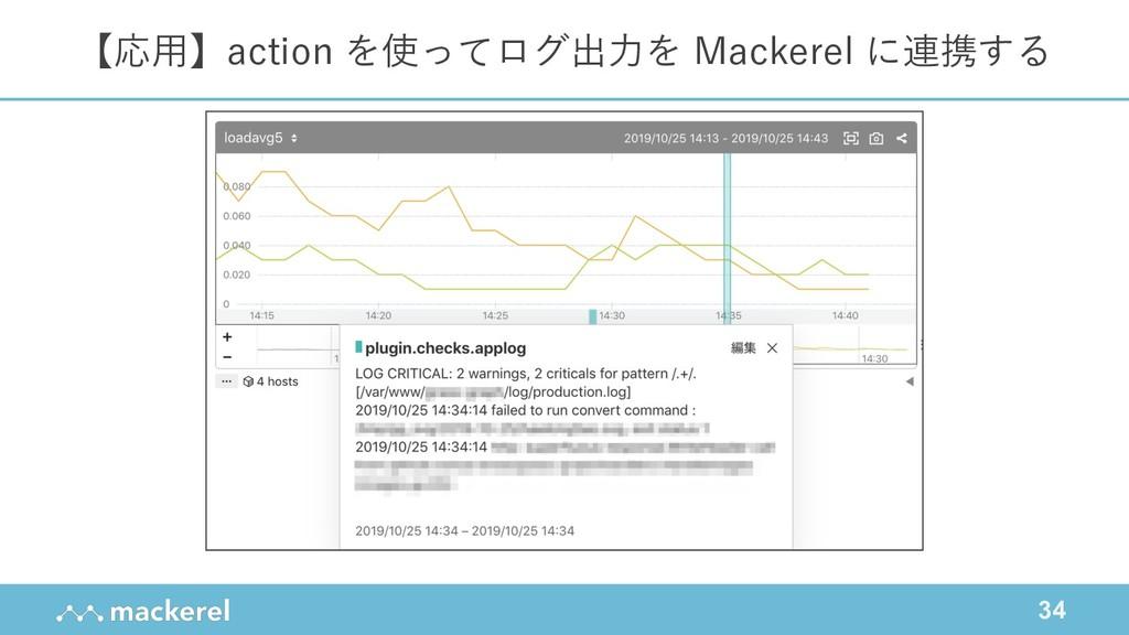 34 【応⽤】action を使ってログ出⼒を Mackerel に連携する