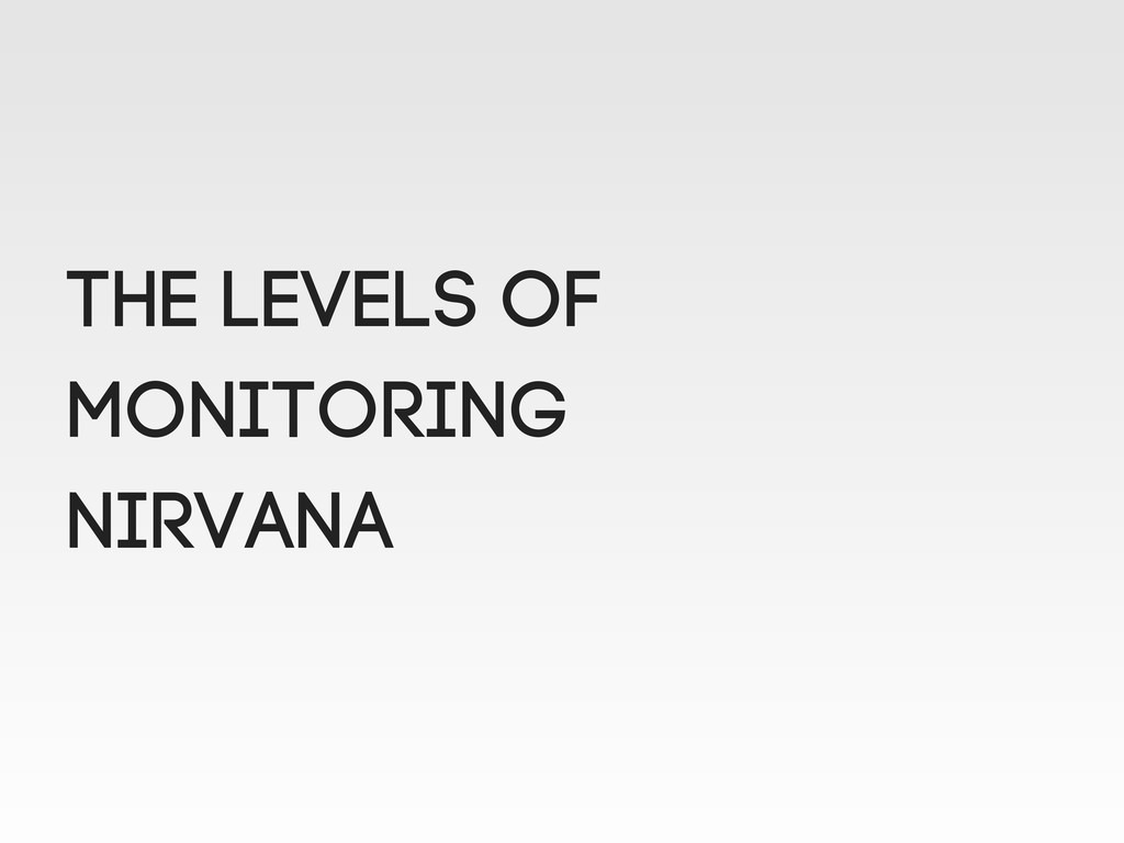 THE LEVELS OF MONITORING NIRVANA