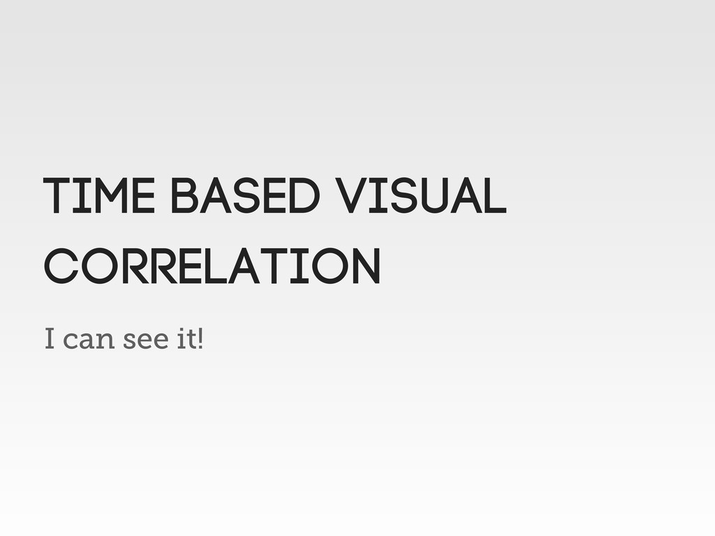 I can see it! TIME BASED VISUAL CORRELATION