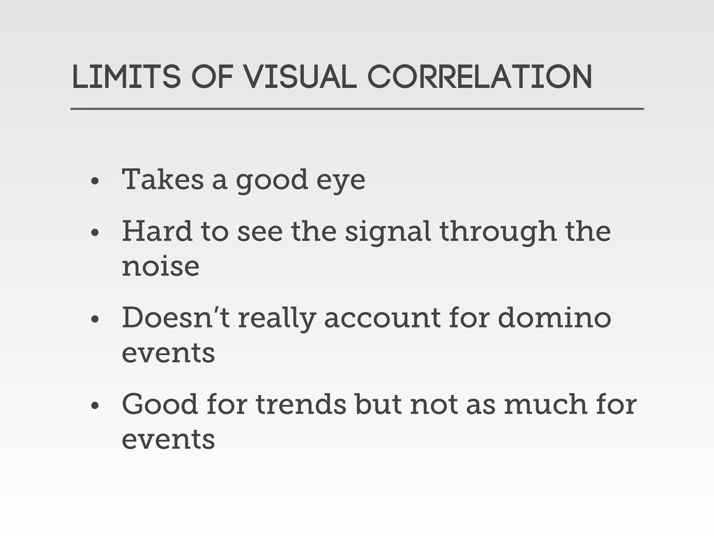 LIMITS OF VISUAL CORRELATION • Takes a good eye...