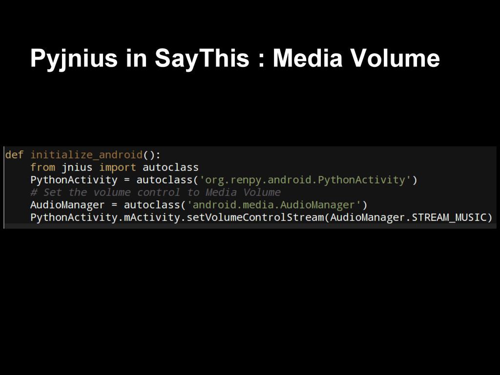 Pyjnius in SayThis : Media Volume