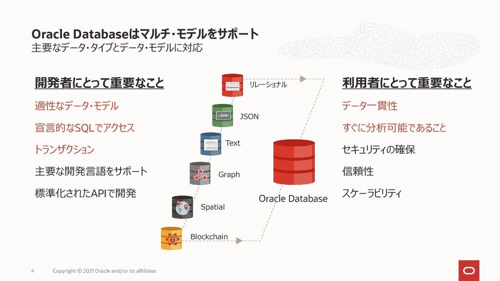 主要なデータ・タイプとデータ・モデルに対応 Oracle Databaseはマルチ・モデルをサ...