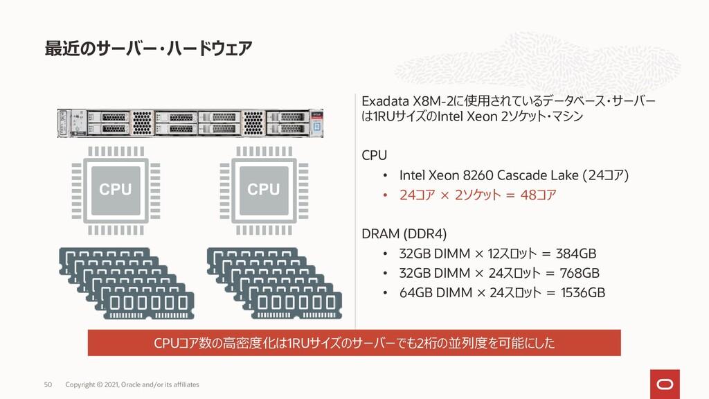 Exadata X8M-2に使用されているデータベース・サーバー は1RUサイズのIntel ...