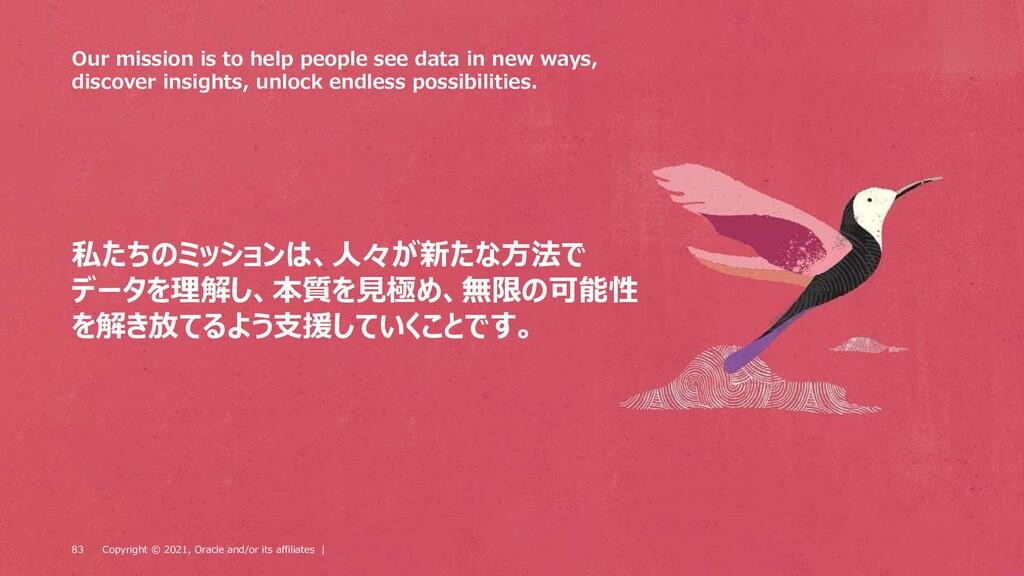 私たちのミッションは、人々が新たな方法で データを理解し、本質を見極め、無限の可能性 を解き放...
