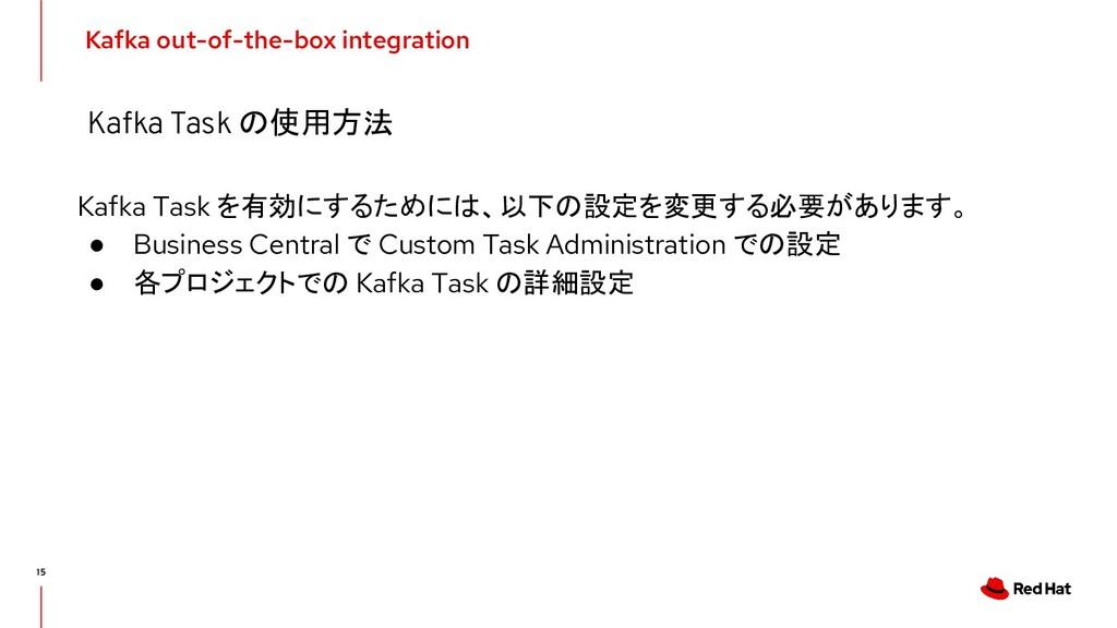 Kafka Task を有効にするためには、以下の設定を変更する必要があります。 ● Busi...