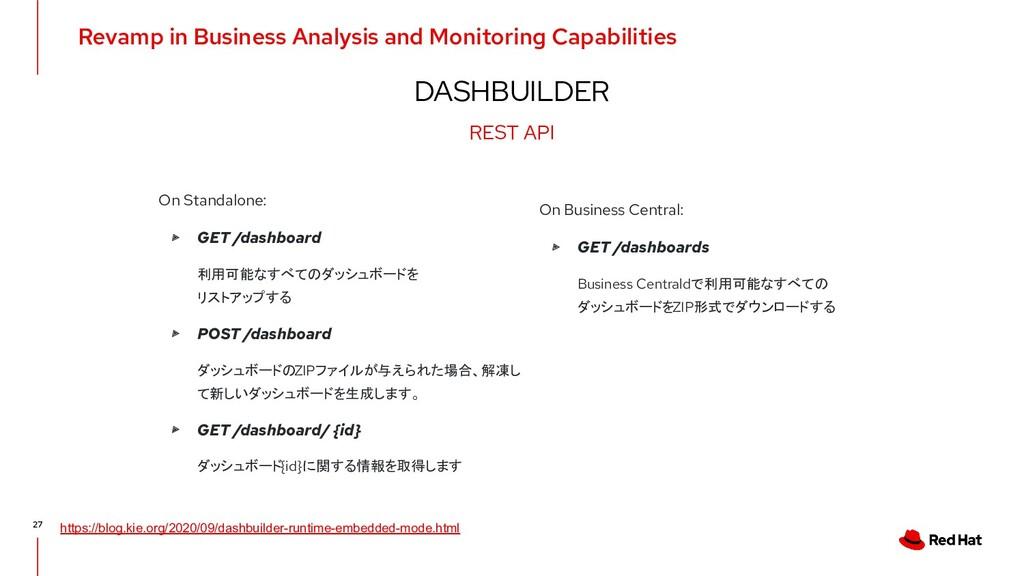 DASHBUILDER 27 On Standalone: ▸ GET /dashboard ...