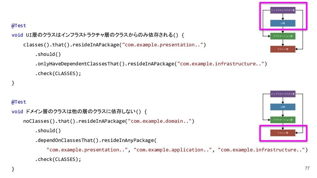77 @Test void UI層のクラスはインフラストラクチャ層のクラスからのみ依存される(...