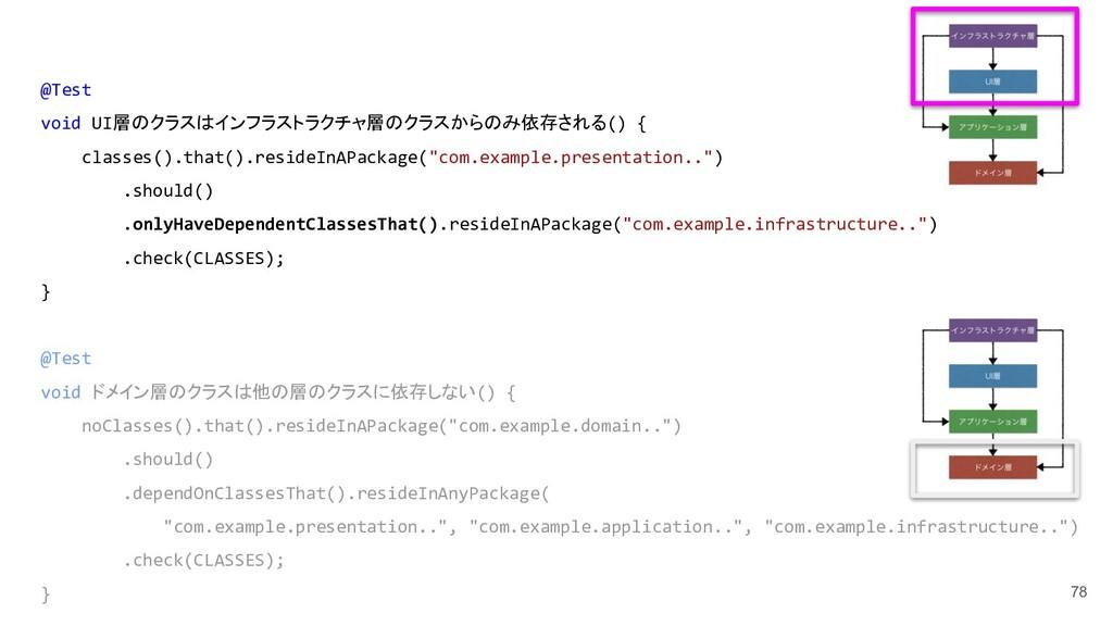 78 @Test void UI層のクラスはインフラストラクチャ層のクラスからのみ依存される(...