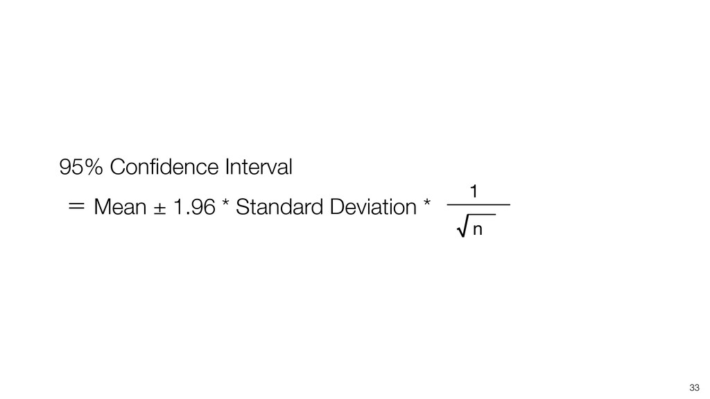 33 95% Confidence Interval ʹ Mean ± 1.96 * Stand...