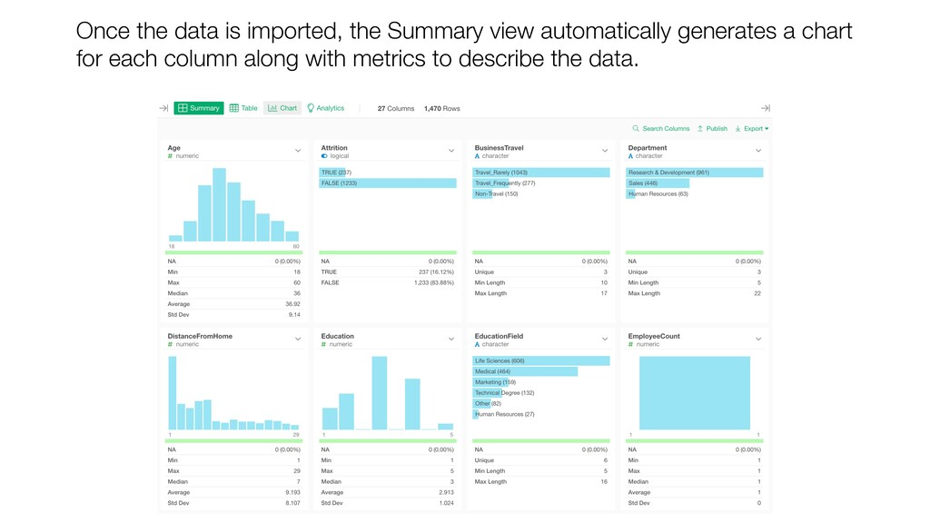 Once the data is imported, the Summary view aut...